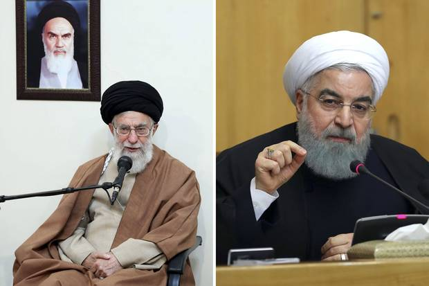 Left: Iran's Supreme Leader Ayatollah Ali Khamenei sits under a portrait of the late Iranian revolutionary founder Ayatollah Khomeini on Jan. 2, 2018. Right: President Hassan Rouhani speaks in a cabinet meeting on Dec. 31, 2017.