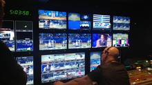 The broadcast control room at the Rogers Centre during the Blue Jays' home opener. (Steve Ladurantaye/The Globe and Mail)