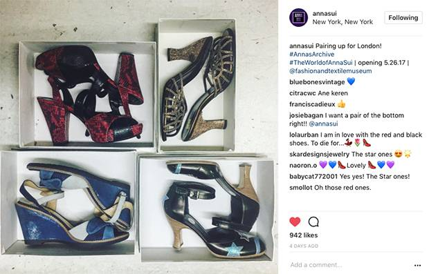 Anna Sui's retrospective at London's Fashion and Textile Museum prompted her to share behind-the-scenes moments of packing up her archive on Instagram.