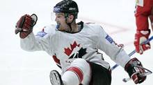 Canada's Jason Chimera celebrates his goal against Norway during their World Ice Hockey championship match in the town of Mytischi, outside Moscow, Monday, April 30, 2007. (Associated Press)