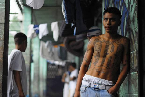 A gang member in a prison in Quezaltepeque, on the outskirts of San Salvador, in 2012.