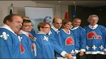 Conservative MPs wear Nordiques jerseys during a caucus meeting in Quebec City on Wednesday, Sept. 8, 2010. (TVA)