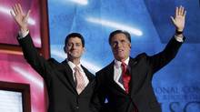 Republican presidential nominee Mitt Romney, right, and vice-presidential running mate Rep. Paul Ryan  wave to the crowd  after Mr. Romney accepted the presidential nomination during the final session of the Republican National Convention in Tampa, Fla., on Aug. 30, 2012. (Shannon Stapleton/REUTERS)