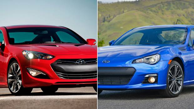 A 2017 Hyundai Genesis Coupe Left And Subaru Brz