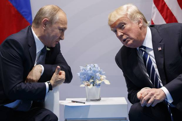 July 7, 2017: U.S. President Donald Trump meets with Russian President Vladimir Putin at the G20 Summit in Hamburg, Germany.
