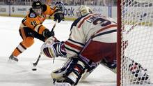Philadelphia Flyers' Danny Briere cannot get a penalty in shot past New York Rangers' Henrik Lundqvist in the third period of the NHL Winter Classic hockey game, Monday, Jan. 2, 2012, in Philadelphia. (Associated Press)