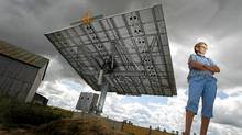 Rita Van Geffen, who believes in solar power, invested $105,000 into a small solar project. The large panel, erected on one of her family's farms, has been ready to go since September of last year, but has not yet been connected to the grid. (Peter Power/The Globe and Mail)