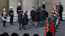 Family members arrive for the funeral service of former British prime minister Margaret Thatcher at St Paul's Cathedral in London April 17, 2013. (SUZANNE PLUNKETT/REUTERS)