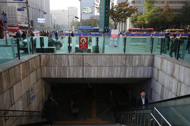 Subways in Seoul double shelters in case of attack from North Korea, and are equipped with emergency supplies.