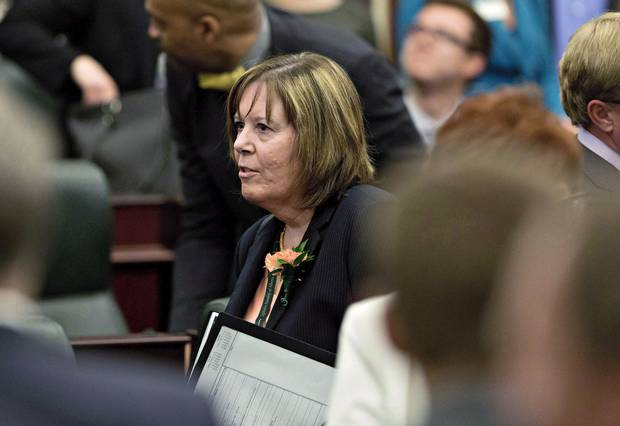 Alberta's Minister of Energy Marg McCuaig-Boyd after the Speech from the Throne in Edmonton on June 15, 2015.