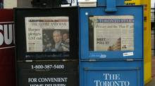 Newspaper boxes selling The Globe and Mail and the Toronto Star are seen in Toronto. (Louie Palu/Louie Palu/The Globe and Mail)
