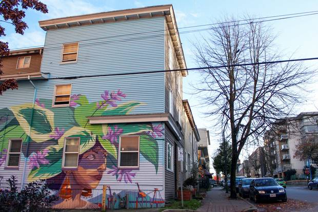 Ilya Viryachev 1 Resolve in Nature, on a group home in Vancouver's Lower East Side, painted by Vancouver-based artist Ilya Viryachev.