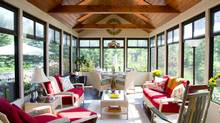 "Interior designer Brenda Bell's home in Blue Mountains, Ont. features a sunroom with a beautiful view. ""It's simply a divine space to feel at one with the beauty of nature,"" Bell says of the room, ""especially when it's filled with love, laughter and friends."""