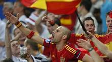 Spanish fans cheer at Euro 2012 soccer championship (Darko Vojinovic/The Associated Press)