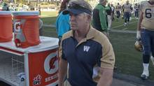 Winnipeg Blue Bombers head coach TIm Burke leaves the field after CFL football action against the Saskatchewan Roughriders in Regina, Sask., Sunday, September 02, 2012 (The Canadian Press)