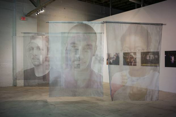 The Museum of Contemporary Art Detroit, featuring silk organza banners by artist Dana Hoey ...