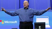 "Microsoft CEO Steve Ballmer gestures during his keynote address at the Microsoft ""Build"" conference in San Francisco, California June 26, 2013. (Reuters)"