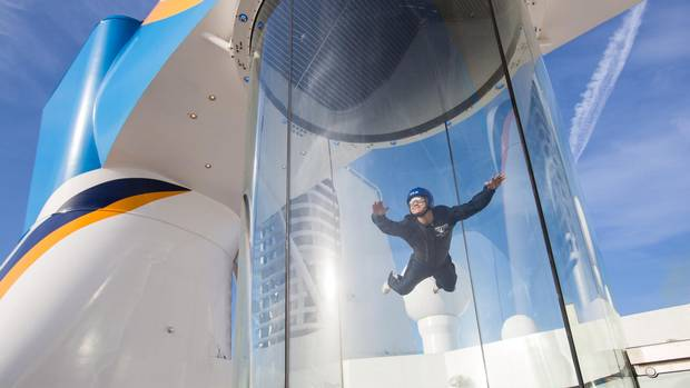 Royal Caribbean's Quantum class ships feature a RipCord by iFLY skydiving simulator.