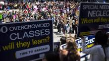 Striking B.C. teachers at the Vancouver Art Gallery during a noon time rally, June 16, 2014. (John Lehmann/The Globe and Mail)