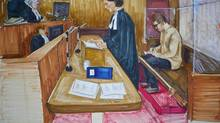 Crown lawyer Damienne Darby addresses the court while accused 29-year-old Reza Moazami writes in the prisoner's box in this court drawing. (Felicity Don/The Canadian Press)