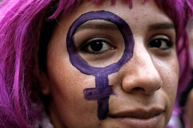 A demonstrator takes part in a march on International Women's Day in Sao Paulo, Brazil, on March 8, 2017.