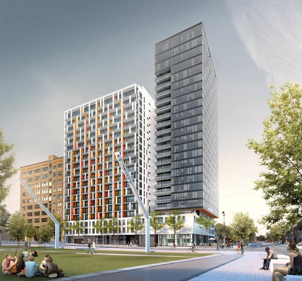 The Laurent & Clark condominium project in the Quartier des Spectacles area of Montreal is one of several new buildings planned for the lively neighbourhood.