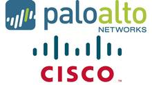Logos for two rivals in corporate firewall services, Palo Alto Networks and Cisco Systems.