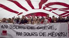 Quebec student demonstrators protest against tuition hikes in downtown Montreal on Tuesday. (Christinne Muschi/Reuters)