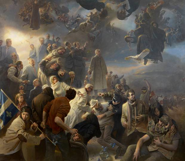 To mark the 150th anniversary of the founding of Canada, and to celebrate the role of Quebec in the shaping of the country, American artist Adam Miller was privately commissioned by Salvatore Guerrera, Montreal patron of the arts, to capture the national zeitgeist through a monumental painting.