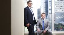 GMP Capital Inc.'s former CEO Kevin Sullivan, left, and income CEO and current president Harris Fricker. (Darren Calabrese/Darren Calabrese for The Globe and Mail)