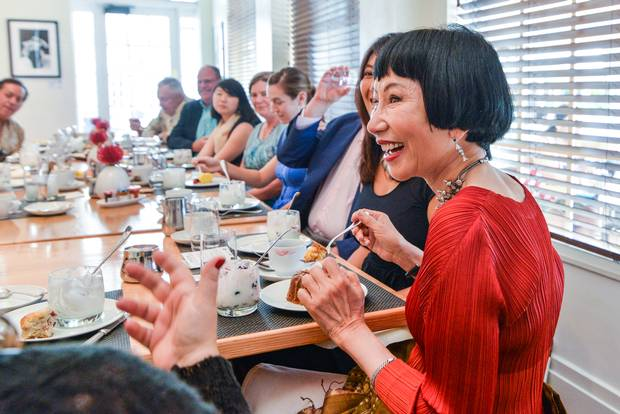 Amy Tan, Artist in Residence at the Betsy, hosts a salon with hotel guests and community members.