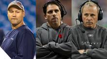 Scott Milanovich of the Toronto Argonauts, Mike Benevides of the B.C. Lions and John Hufnagel of the Calgary Stampeders (The Canadian Press, Reuters)