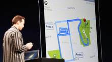 Scott Forstall, senior vice president of iOS Software at Apple Inc., demonstrates turn-by-turn navigation in iOS6 using Siri during the Apple Worldwide Developers Conference 2012 in San Francisco, California June 11, 2012. (STEPHEN LAM/REUTERS)