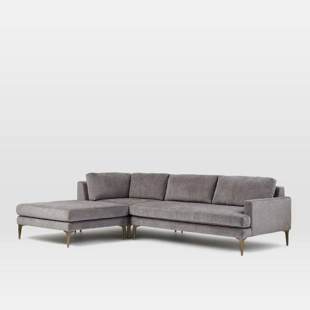 Andes three-piece chaise sectional, price on request at West Elm (www.westelm.com)