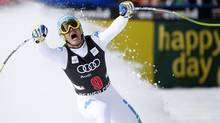 Christof Innerhofer of Italy celebrates setting the best time as he skis into the finish area in men's World Cup downhill ski race in Beaver Creek, Colorado November 30, 2012. (RICK WILKING/REUTERS)