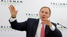John Manzoni, president and Chief Executive Officer of Talisman Energy answers questions at a news conference after the company's annual general meeting in Calgary, Alberta, May 4, 2011. (Todd Korol/REUTERS/Todd Korol/REUTERS)