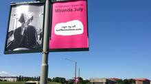 A streetlight promotion for Miranda July's We Think Alone project. (Courtesy Miranda July)