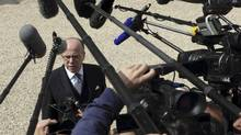 French Interior Minister Bernard Cazeneuve is shown in Paris on April 23, 2014. On Friday, Mr. Cazeneuve confirmed that four officers had been taken into custody for questioning in a rape investigation. (PHILIPPE WOJAZER/REUTERS)