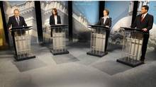 New Democratic Party Leader Brian Mason, Wildrose Alliance Leader Danielle Smith, Progressive Conservative Leader Alison Redford and Liberal Leader Raj Sherman take part in a televised debate in Edmonton ahead of Alberta's April 23 election. (DAN RIEDLHUBER/DAN RIEDLHUBER/REUTERS)