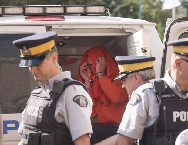 Gerald Stanley leaves in custody after his bail hearing on Thursday, Aug. 18.