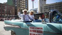 Parade marshal William Shatner waves to fans during the Calgary Stampede parade on July 4, 2014. (TODD KOROL/REUTERS)