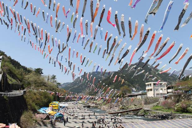 Kanna-machi comes to life every spring with the koinobori festival, featuring hundreds of giant carp streamers.