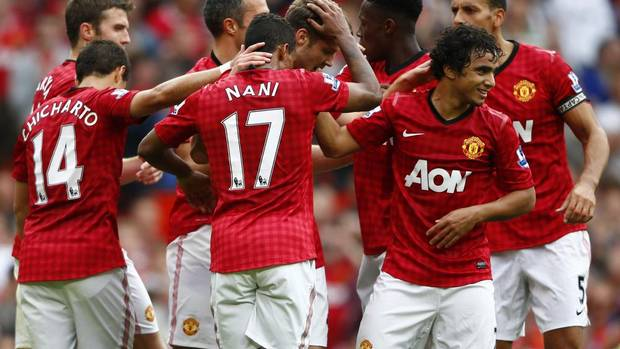 NO. 1: Manchester United FC. Soccer. Brand value: $852-million (U.S.) Nick Powell celebrates his goal against Wigan Athletic with teammates Sept. 15, 2012. (DARREN STAPLES/REUTERS)