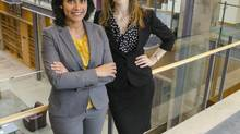 Luxmi Jeyavel, left, and Jennifer MacPherson are MBA students at Queen's. Ms. Jeyavel signed on after attending personal information sessions with admissions staff while Ms. MacPherson took advantage of a scholarship. (Queen's University)