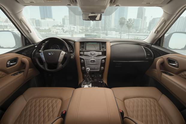 The QX80 has an upgraded infotainment system and a camera-assisted rear-view mirror.