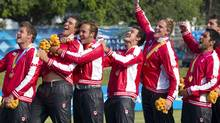 Members of the Canadian team sing the national anthem after receiving their gold medals during rugby sevens finals on the last day of the Pan American Games in Tlaquepaque, Oct. 30, 2011. (Andy Clark/Reuters/Andy Clark/Reuters)