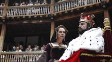 Actors Dominic Rowan and Kate Duchene perform as Henry VIII and Queen Katherine in Shakepeare's Henry VIII at the Globe theatre in London July 6, 2010. (LUKE MACGREGOR/REUTERS)
