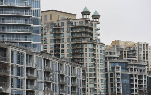 Condominiums along the waterfront in Toronto, between the Humber River and Humber Bay Park East.
