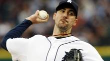 Detroit Tigers starting pitcher Justin Verlander throws to the New York Yankees during the first inning of their MLB American League baseball game in Detroit, Michigan May 2, 2011. REUTERS/Rebecca Cook (Rebecca Cook/Reuters)