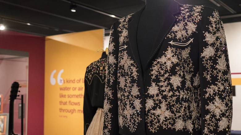Another of lang's costumes on display at the exhibit.